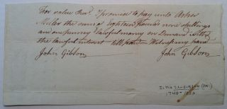 Autographed Document Signed. JOHN GIBSON, 1740 - 1822