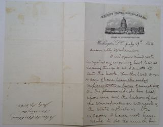 Autographed Letter Signed on House of Representatives letterhead. John Henry HUBBARD, 1805 - 1872