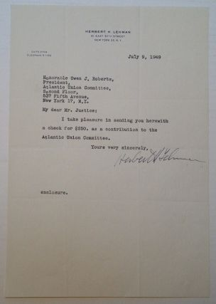 Controversial Typed Letter Signed. Herbert H. LEHMAN, 1878 - 1963.