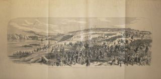 Surrender of Fort Donelson, February 16, 1862. View of Principal Fortifications , including the Water Batteries. National Gunboats on the Cumberland River, and Town of Dover--Exhibition of White Flags on the Works--National Troops Marching to occupy the Fortifications. Frank Leslie's Weekly.