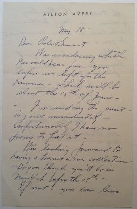 Autographed Letter Signed on personal letterhead. Milton AVERY, 1885 - 1965.