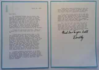 Chatty Typed Letter Signed. Dorothy H. STICKNEY, 1896 - 1998