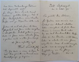 Lengthy Autographed Letter Signed in German. Theodor LESCHETIZKY, 1830 -1915