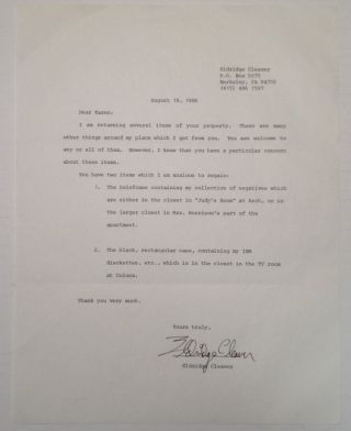 Rare Typed Letter Signed. Eldridge CLEAVER, 1935 - 1998