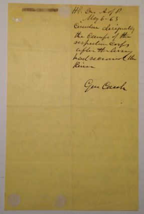 """Autographed Document Signed on """"Headquarters Army of the Potomac"""" letterhead"""