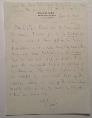 Autographed Letter Signed to drama critic Edith Oliver. Edmund WILSON, 1895 - 1972