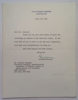 "Typed Letter Signed on ""Attorney General"" stationery. Tom CLARK, 1899 - 1977"