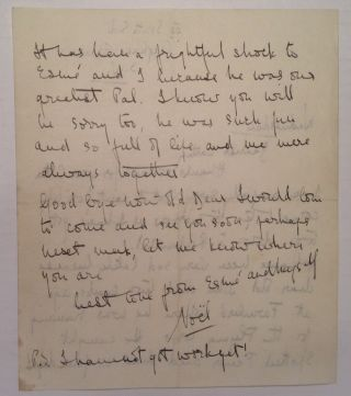 Autographed Letter Signed regardring the death of a mutual friend