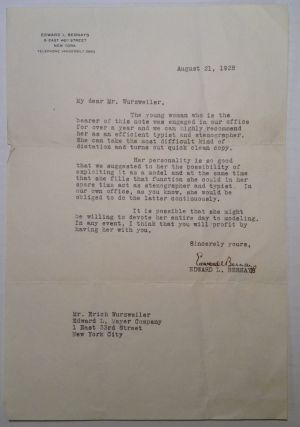 Typed Letter Signed by The Father of Public Relations. Edward L. BERNAYS, 1891 - 1995.