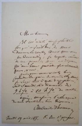 Autographed Letter Signed in French. Ambroise THOMAS, 1811 - 1896