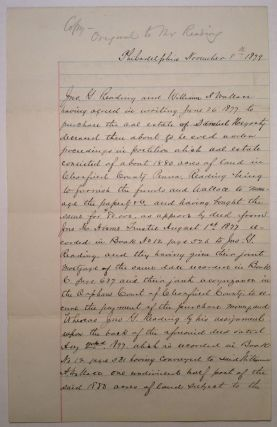 Rare Document Signed about land in Pennsylvania. John Grandin READING, 1812 - 1891