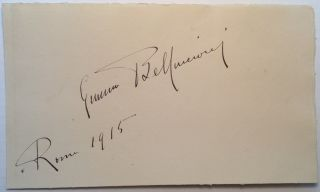 Beautiful Large Signature. Gemma BELLINCIONI, 1864 - 1950