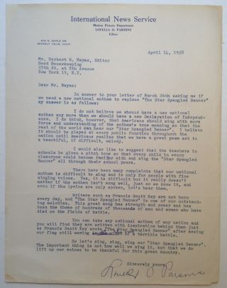 Patriotic Typed Letter Signed to editor Herbert Mayes. Louella PARSONS, 1881 - 1972