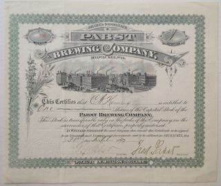 Autographed Stock Certificate. PABST BREWING COMPANY - Frederick Pabst