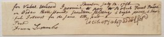 Promissory Note with full Signature. Robert Treat PAINE, 1731 - 1814