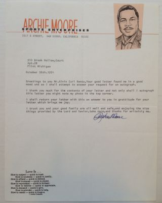 Typed Letter Signed on decorative business letterhead. Archie MOORE, 1916 - 1998.