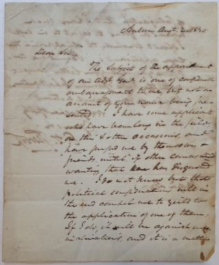 Autographed Letter Signed to a future Civil War general and politician. Enos T. THROOP, 1784 - 1874