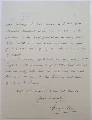 "Autographed Letter Signed ""Macmillan"" to a Judge"