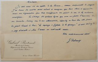 Autographed Letter Signed in French with a rare Calling Card. Gabriel BERTRAND, 1867 - 1962