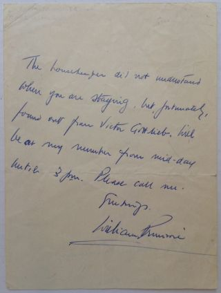 Autographed Letter Signed. William PRIMROSE, 1904 - 1982