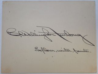 Signed Card. Charles Wellington FURLONG, 1874 - 1967