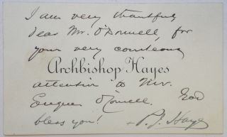 Autographed Note Signed on a personal calling card. Joseph Patrick HAYES, Cardinal Hayes, 1867 -...