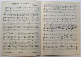 """Signed Sheet Music -- """"Soldier of Fortune"""""""