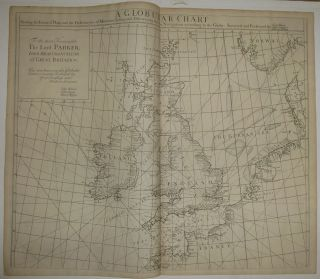 A Globular Chart shewing the errors of Plain, and the Deficiencyes of Mercators Sailing, and Discovering the true Navigation according to the Globe. Nathaniel CUTLER, Sir Edmond HALLEY, John HARRIS, John SENEX, Daniel DEFOE.