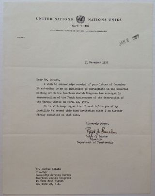 "Typed Letter Signed on ""United Nations"" letterhead. Ralph BUNCHE, 1903 - 1971."