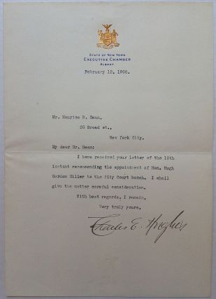 Typed Letter Signed. Charles Evans HUGHES, 1862 - 1948.