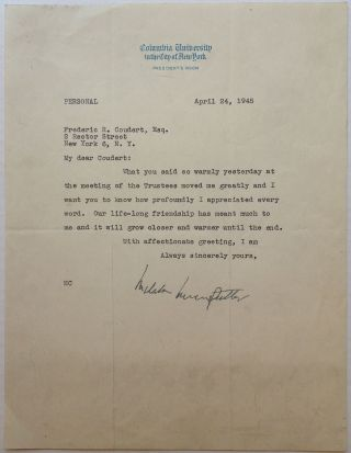 "Typed Letter Signed on ""Columbia University"" letterhead. Nicholas Murray BUTLER, 1862 - 1947."