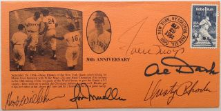 Commemoraive Envelope Signed by five New York Giants baseball players. Willie MAYS.