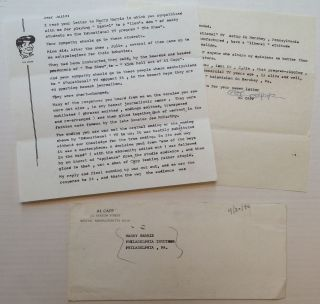 Typed Letter Signed concerning censorship and manipulation of broadcast television. Al CAPP, 1909 - 1979.