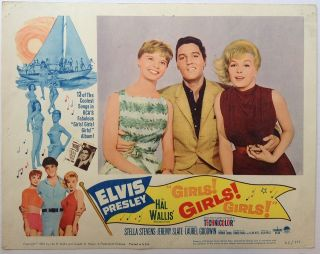 "Three Lobby Cards for the film ""Girls Girls Girls"" ELVIS PRESLEY"