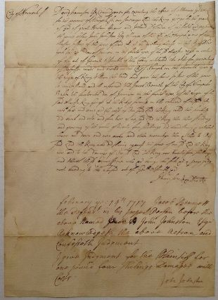 Exceedingly Rare Autographed Colonial Legal Document. David JAMISON, 1660 - 1739.