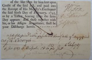 Partly Printed Document Signed. Henry FOX, 1705 - 1774, 1st Baron Holland