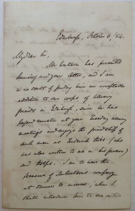 Autographed Letter Signed. Robert CHAMBERS, 1802 - 1871