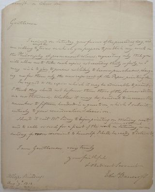 Historically important Autographed Letter Signed. Edward BANCROFT, 1744 - 1821