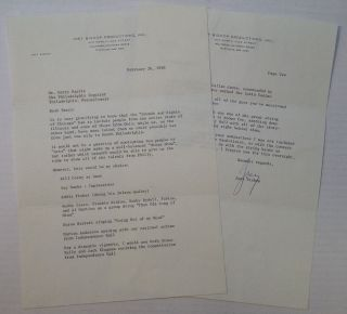 "Chatty Typed Letter Signed ""Joey"" on personal letterhead. Joey BISHOP, 1918 - 2007."