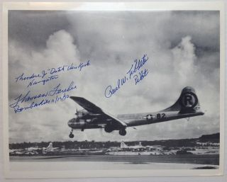 Signed Photograph by three crew members. ENOLA GAY.