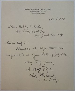 "Autographed Letter Signed on ""Naval Research Laboratory"" stationery. Albert Hoyt TAYLOR, 1879 - 1961"
