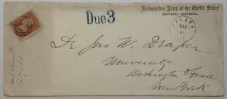 "Handwritten ""Headquarters Army of the United States"" Envelope. Adam BADEAU, 1831 - 1895."