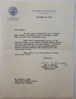 "Typed Letter Signed on ""Veterans Administration"" stationery. Omar N. BRADLEY, 1893 - 1981"