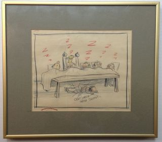 "Three framed original cartoons from ""Gulliver's Travels"""