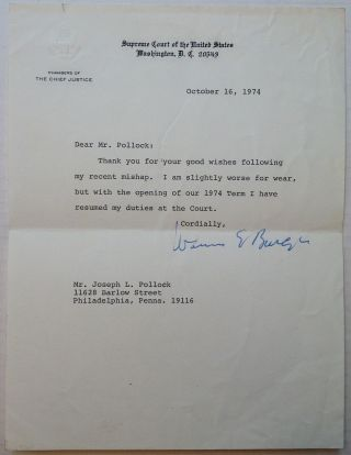 Typed Letter Signed on Supreme Court stationery. Warren E. BURGER, 1907 - 1995