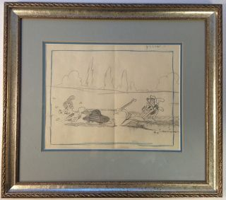 "Framed original animation production drawing from the 1939 Betty Boop short ""Musical..."