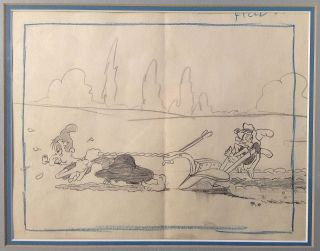 """Framed original animation production drawing from the 1939 Betty Boop short """"Musical Mountaineers"""""""