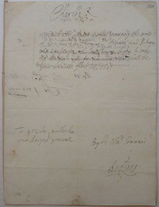 "Autographed Document Signed ""Charles R"" as King. CHARLES ll, 1630 - 1685"