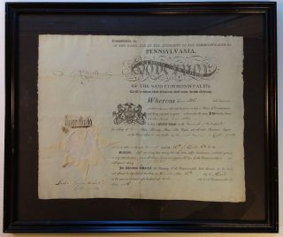 Framed Document Signed. Simon SNYDER, 1759 - 1819