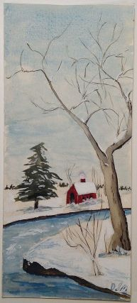 Autographed Letter Signed inside a hand-painted Christmas Card